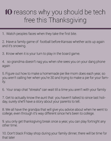 10 Reasons Why You Should Be Tech Free This Thanksgiving