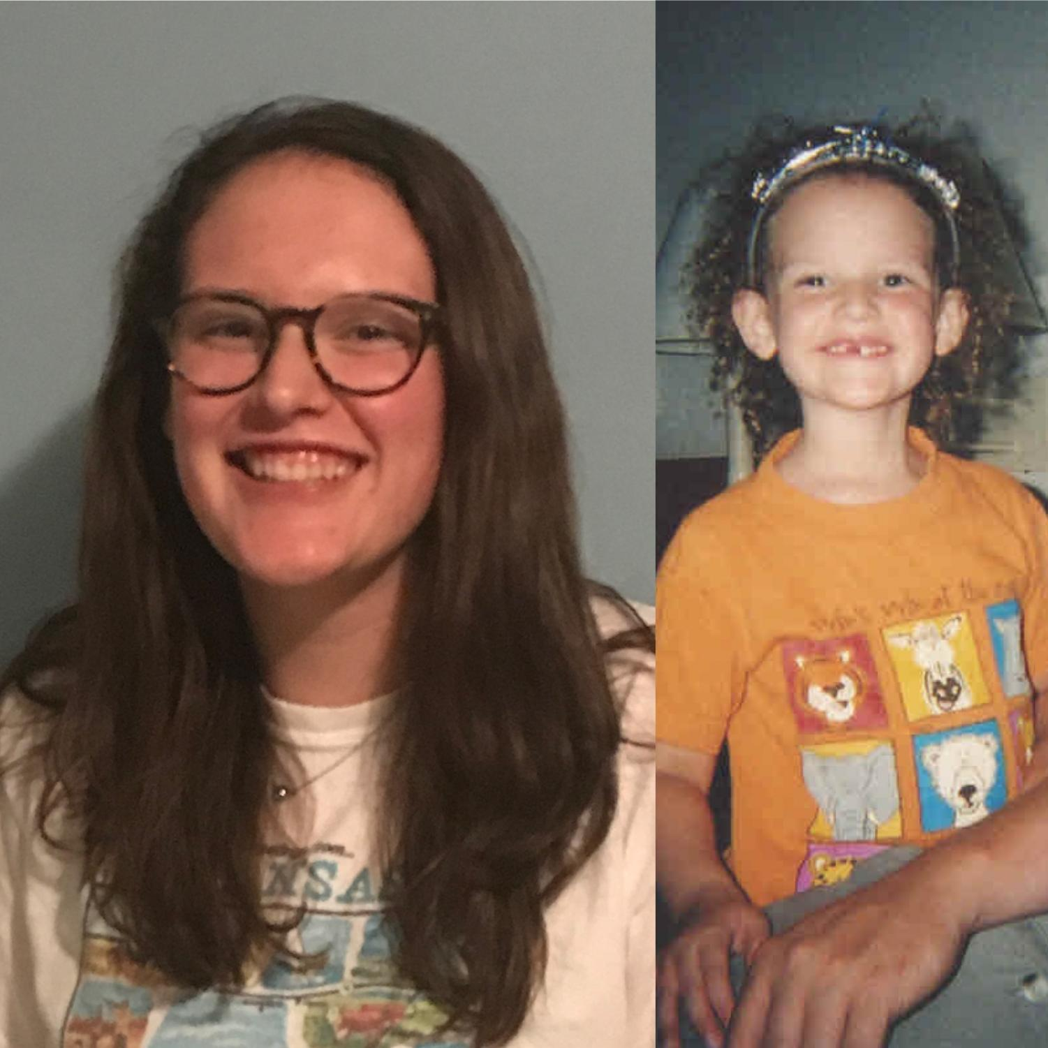 Me, today, with my straight(ish) hair, and me when I was three with my boingy curls (photos by CSmith).