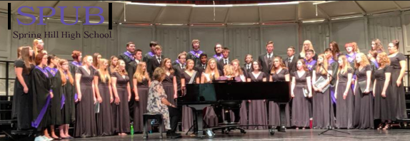 On October 8, the Beginning choir, Concert choir, Destiny, and Madrigals sing the Spring Hill High School Alma Mater (photo by RWhite).