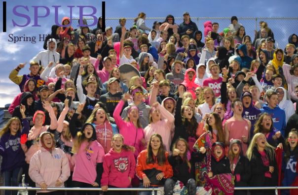 On Oct. 4, the student section cheering on the varsity football team against DeSoto. Despite the cold, there is a large turnout and the student section is full of pep. (Photo by A. Anderson)
