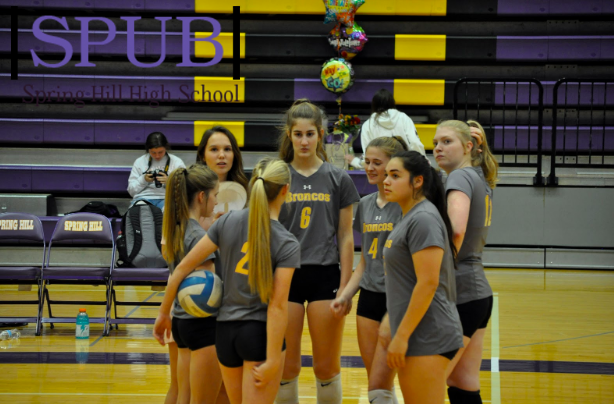 At+the+start+of+the+varsity+volleyball+game%2C+the+team+huddles+together.+They+are+talking+about+the+game+%28Photo+by+B.Reber%29.