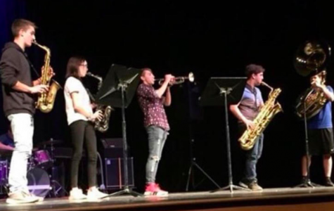"During the 2018 variety show, Undercover Cowbell plays for the audience filling the auditorium. The jazz band played three songs, ""Without you,"" ""The Unusual"" and ""The Unknown"" (Photo courtesy by Undercover Cowbell)."