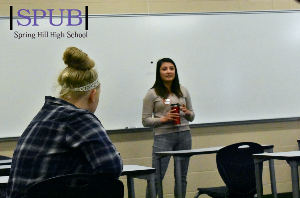 During the second Adulting 101 session Olivia Oborny, 10, listens to a KU Admissions officer talk about how to write a good scholarship essay. The adulting 101 sessions give students a chance to answer real questions that they are going to have when they go to graduate high school (Photo NAble).