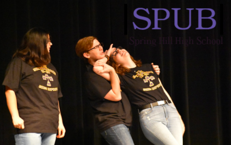 Juniors Logan Trask, Josie Scheener, and Jourdyn Nickel all perform an improv scene during the show. They are part of the Shenanigang; an improv group who has performed at the show for the last two years (photo by I. Williams).