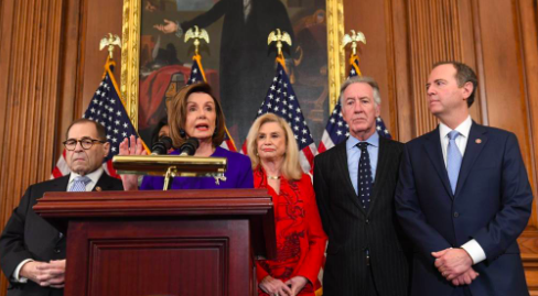 Nancy Pelosi; Speaker of the House, Jerry Nadler; US Representative of New York and Chair of the House Judiciary Committee, Adam Schiff;US Representative of California, and Carolyn B. Maloney; Representative of New York unveil articles of impeachment (Photo curtesy of Vox).
