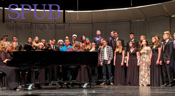 "The combined Bronco choirs sing ""Peace, Peace,"" one of the many traditions for the winter concert. Alumni were also welcome to sing as well (Photo by RWhite)."