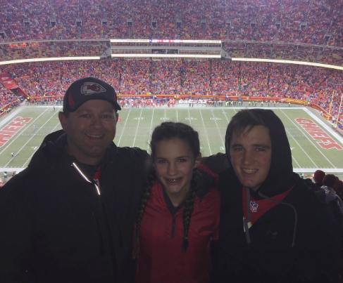 My dad, brother, and I at a Chiefs game on Christmas in 2016; my favorite Christmas memory (Photo submitted by MPutnam).