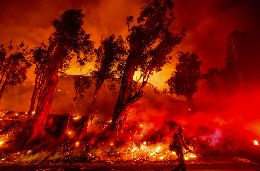 Backfire consumes Santa Paula, Calif. as firefighters try to battle, on Nov. 1. This decade has been by far the hottest decade by far (Photo curtesy of AP Photo and Noah Berger).