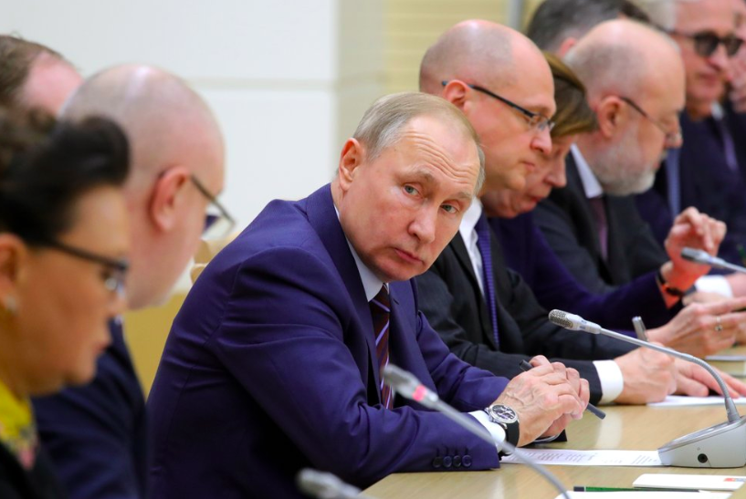 At the  Novo Ogaryovo residence outside Moscow, Russia, Vadimir Putin disucsses constitutional reform. Many are concerned that he wants to extend his rule over Russia while the plans seem to give more power to parliament (Photo curtesy of Kremlin Pool Photo via AP).
