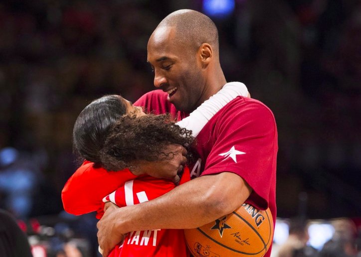 During warm-ups before the NBA All-Star Game basketball action in Toronto, on Feb. 14, 2016, Kobe Bryant hugs his daughter. Bryant and his daughter, Gianna, were found dead along with several others after a helicopter went down, on Jan. 26, in Southern Calif. (Photo Curtesy of Mark Blinch and AP Photo).