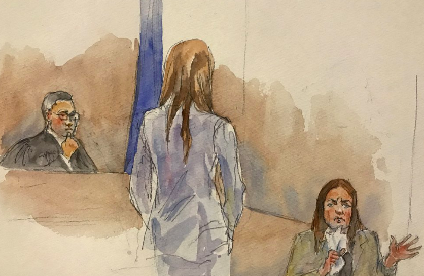 In this courtroom sketch, Manhattan Supreme Court Judge James Burke, left, listens to testimony from witness Mimi Haleyi, right, while assistant Assistant District Attorney Megan Hast, standing listens to the testimony. The trail started on Jan. 27 (Photo curtesy of Aggie Kenny via AP).
