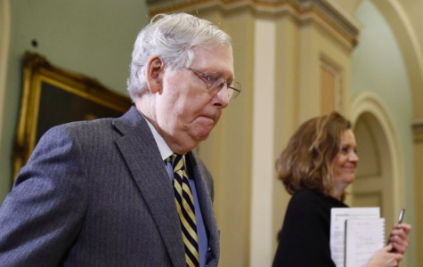 On Jan. 27, Senate Majoriety Leader, Mitch McConnell, leaves after a day of hearing the impeachment trial of President Donald Trump. They are set to vote regarding witnesses soon (Photo courtesy of AP Photo and Patrick Semansky).