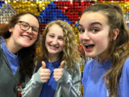 SPUB members Hannah Smith, 11, Gracey Cowden, 12 and Brianna Gulley, 12, take a picture at Kansas University during the regional journalism competition. School activities such as this one were cancelled for the rest of the school year following the spread of Corona (Photo Submitted by B. Gulley)