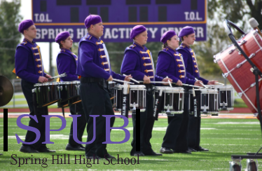 On Oct. 23, the tenor and snare line preform during the band's performance of their halftime show, Cirque Du Soleil, at Spring Hill's home competition. They were currently preparing for the annual pops concert when the coronavirus interrupted their plans.  (Photo by K. Oakes).