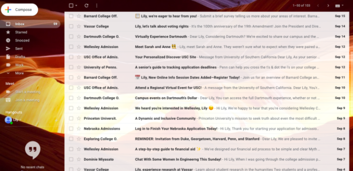 The+college+inbox+of+Lily+Kuhn%2C+12%2C+holding+hundreds+of+emails+from+dozens+of+colleges.