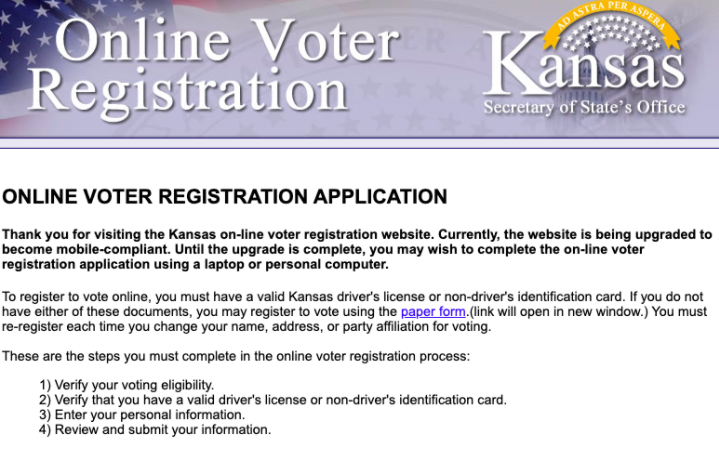 A screenshot of the Kansas voter registration website. A link can be found in the article (photo credit H. Smith).