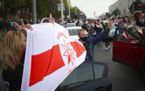 Over 100,000 people in Belarus have begun protesting against the recent presidential election. Their president has been in power for 26 years, and people are starting to get angry (photo credit AP News).