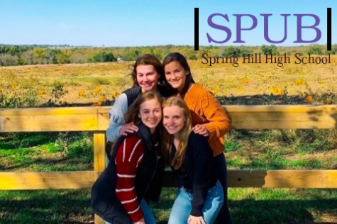 Seniors Meredith Todd, Mallory Putnam, Emily Dowd, and Madison Sutton pose in front of the pumpkin patch after walking through the corn maze. They took many pictures at the cider mill to commemorate their visit last year (photo credit M. Sutton).