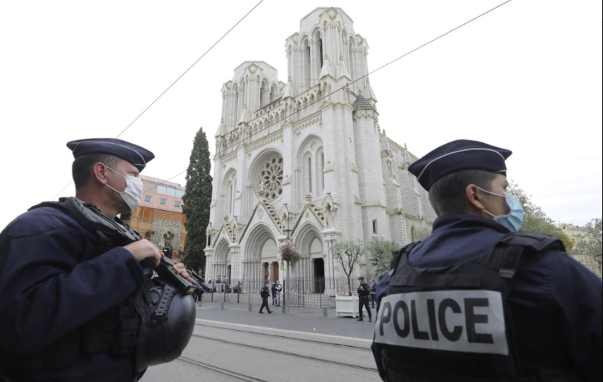 Security at important sites around France has been increased after a suspected terrorism attack that left three dead. It is the third such attack in two months in the country (photo courtesy AP News).