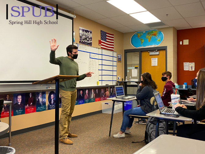 On Nov. 2, Alex Winkler, history teacher, talks to his fourth hour government class about the upcoming presidential election. The class has been following the election and discussing the entire process (photo credit T. Dent).