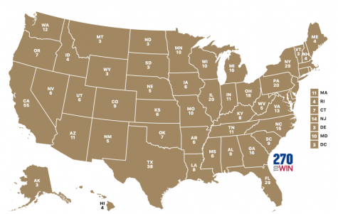 A blank map of the United States taken from the website 270toWin. This interactive map shows how many electoral votes each state gets, and allows the user to play with different scenarios regarding which candidate wins which state (photo credit T. Dent).