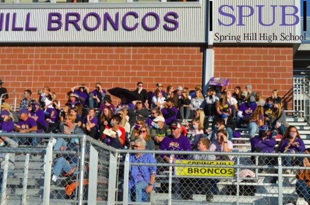 Spring Hill fans cheer on the boys varsity soccer team as they play in sub-state (photo credit L. Haney).