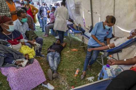 The inside of a tent at an Ethiopian blood drive put on to support the country
