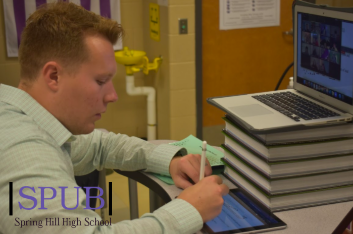 On Sept. 30, Mathew Lundy, honors chemistry teacher, teaches his honors students while they are all at home. Honors students struggled during remote learning, but many also found that their teachers were still there to help (Photo by A.Manning).