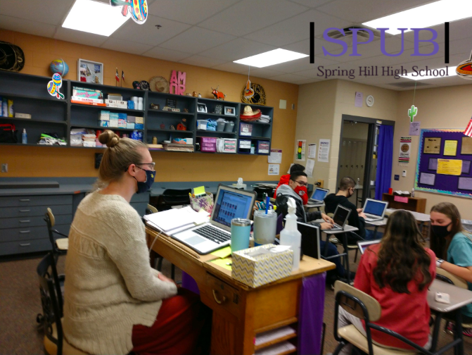 On Nov. 23, Laura Seifert, substitute teacher, stood in for Kelsea Stueve, Spanish teacher's, fourth hour class. Stueve is one of many teachers who find themselves unable to come to school for one reason or another, and high school teachers have had to begin subbing for their coworkers (photo credit A. Kice).