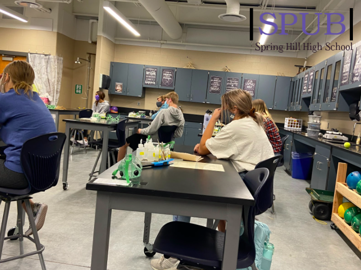 On Oct. 28, students in Melissa Reinhart, science teacher's, Chemistry class viewed a demonstration. If students had trouble understanding this concept, they may be able to get an extra credit assignment to boost a bad grade (photo credit A. Shetlar).