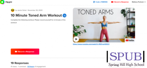 "This is a screenshot of what the Flip Grid format looks like. There is a video attached to follow, as well as a ""record a response"" button for students to record two minutes of their workout (photo by M. Putnam)."