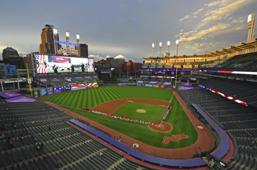 A picture of Progressive Stadium, home of the Cleveland Indians. The Indians are reportedly in the process of renaming their franchise, after decades of comments about the name being racist (photo courtesy AP News).