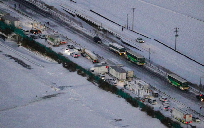 A huge snowstorm in Japan has caused a massive accident. Over 130 cars have been affected, and at least one person has been declared dead (photo courtesy AP News).