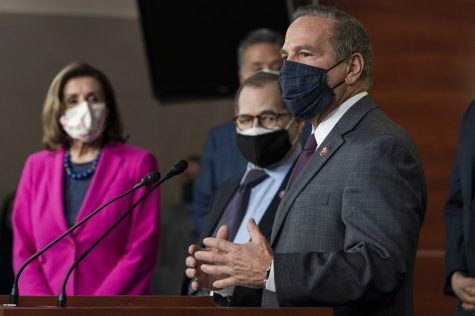 Rep. David Cicilline, D-R.I., right, with Senate House Speaker Nancy Pelosi of Calif., left, and Sen. Jerry Nadler, D-N.Y. These representatives helped pass the Equality Act, which aims to lower discrimination based on gender identity or sexual orientation (photo courtesy AP News).
