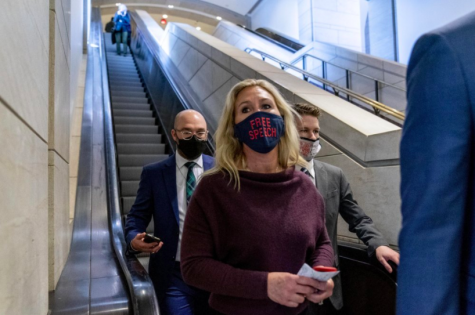 Marjorie Greene of Georgia has been removed from her House committee seats as a result of her racist and outlandish conspiracy theories (photo courtesy AP News).