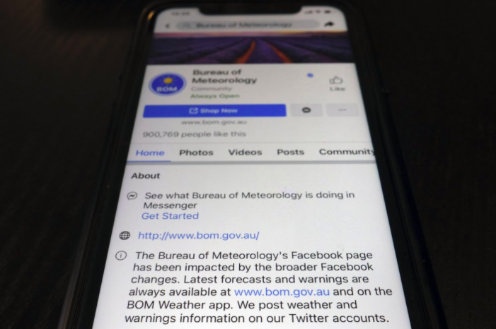 Various informational networks in Australia are being restricted on Facebook. The social media company is pushing against Australian legislation that would require them to pay for journalism (photo courtesy AP News).