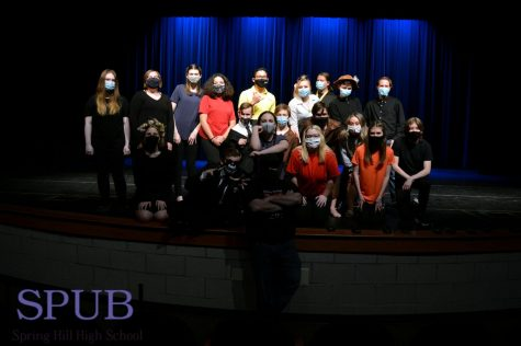 "The Cast of the ""Pandemic Project: Part 2,"" pose together at the end of their performance (Photo by Z. Knust)."
