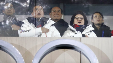 North Korean officials along with the president of South Korea observe the opening ceremonies of the 2018 Winter Olympics. The Tokyo Olympics are fast approaching, and North Korea has decided to withdraw (Photo courtesy AP News).