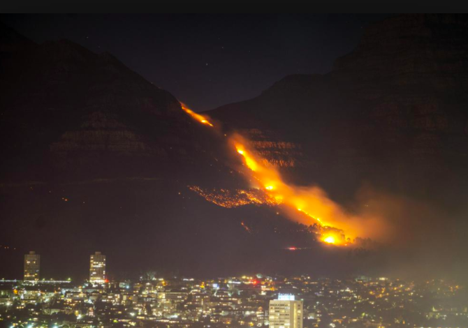 A look over Cape Town as the wildfire approaches the city (photo curtesy AP).