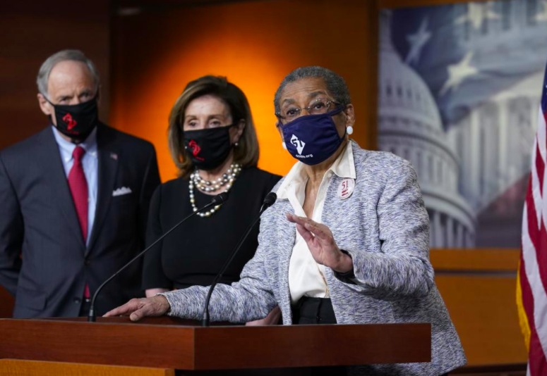 Eleanor Holmes-Norton, delegate to Congress, speaks at a news conference held just before the House vote (photo courtesy AP News).