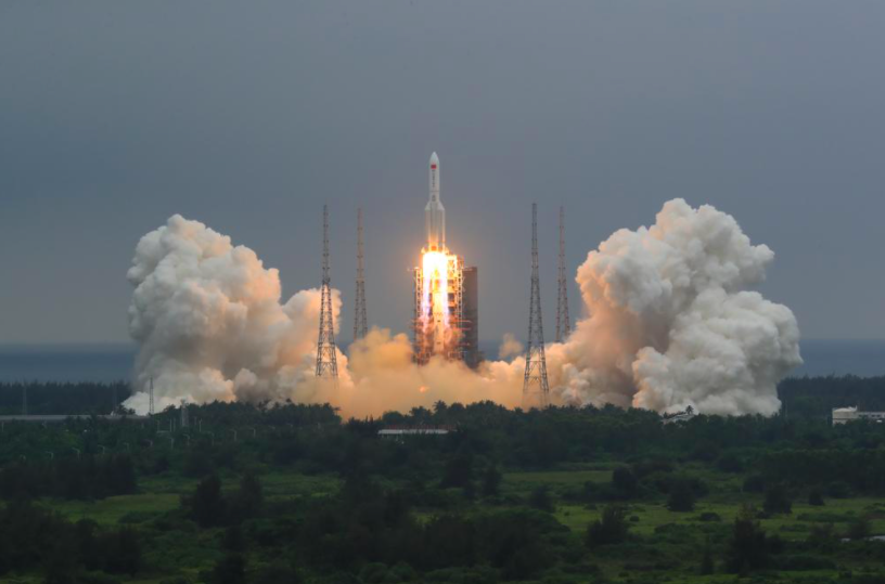 China recently launched its first of 11 modules that will slowly create a new space station (photo courtesy AP News).