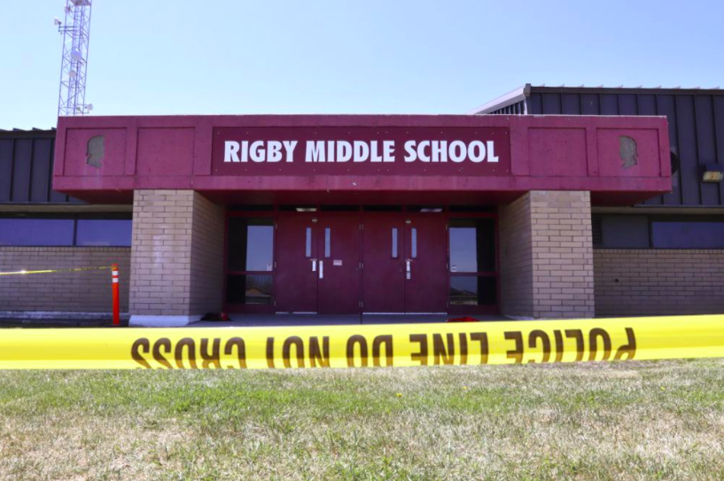 Rigby Middle School in Rigby, ID recently experienced a school shooting after a sixth grade girl shot two classmates and a janitor before being subdued (photo courtesy AP News).