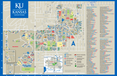 The University of Kansas campus is huge, and two tours are needed to see everything. This map shows a bit of the true size of the campus, but it leaves out the infamous hill (image courtesy the University of Kansas).