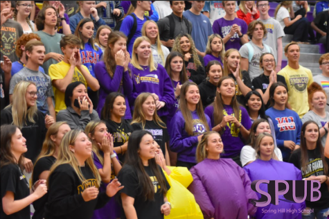 On Aug. 23, the entire student body attended a back to school pep assembly. The pep assembly was designed to show both freshmen and sophomores how a pep assembly works at SHHS (Photo by A. Shelter).